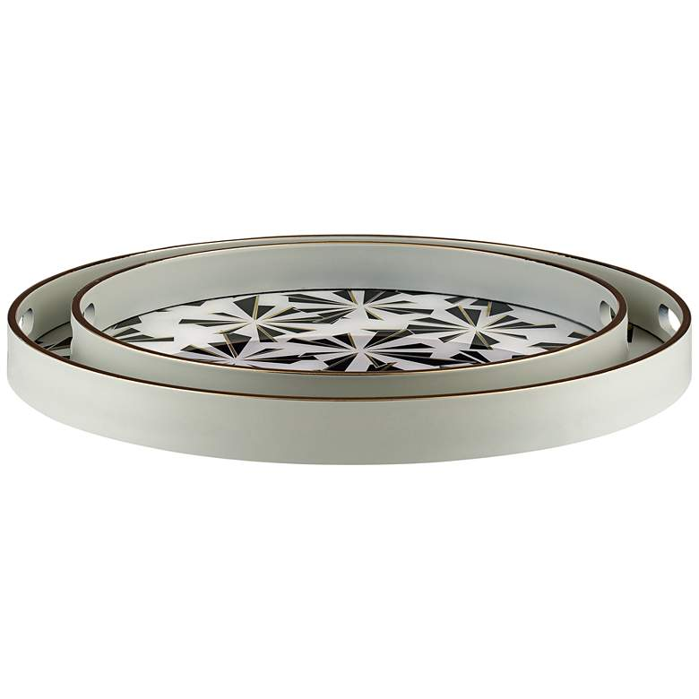 Hadi Black and White Round Patterned Tray Set of 2 more views