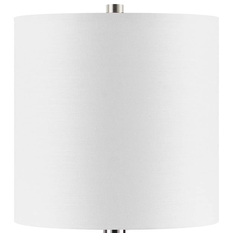 Paige White Marble w/ Polished Nickel Base Accent Table Lamp more views