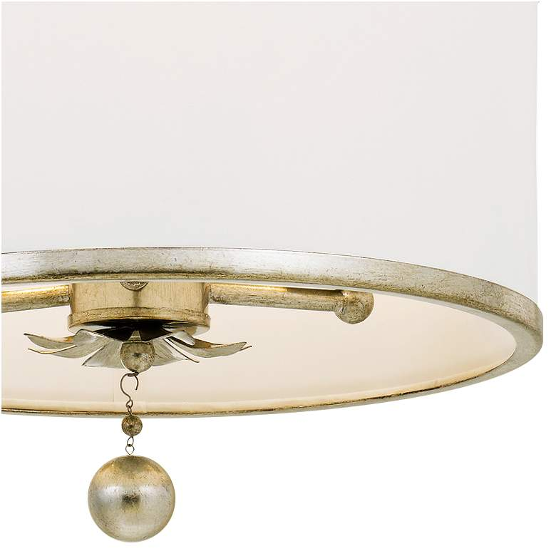 "Crystorama Broche 14"" Wide Antique Silver Drum Ceiling Light more views"