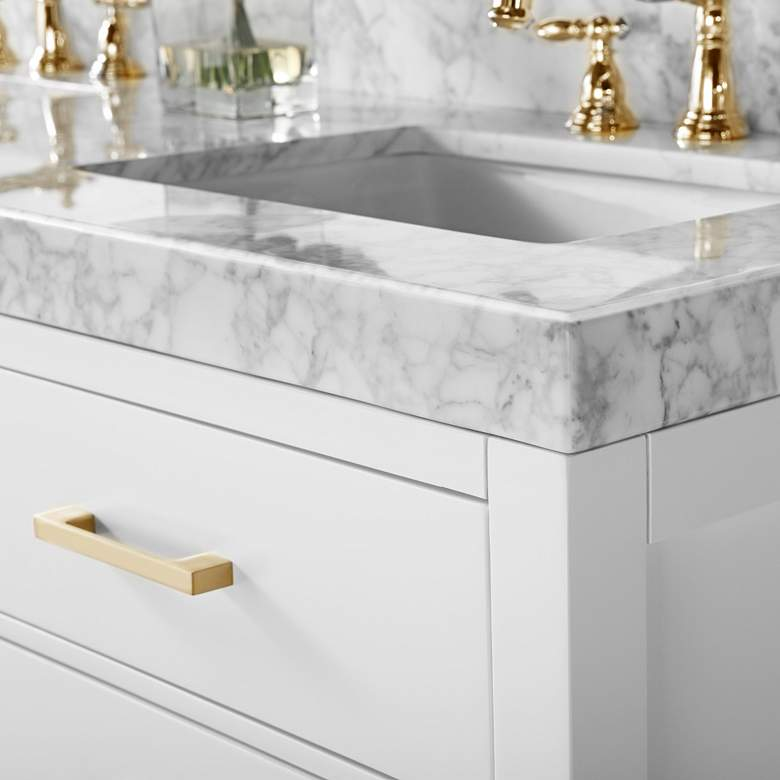 "Elizabeth 60""W Gold Hardware White Marble Double Sink Vanity more views"