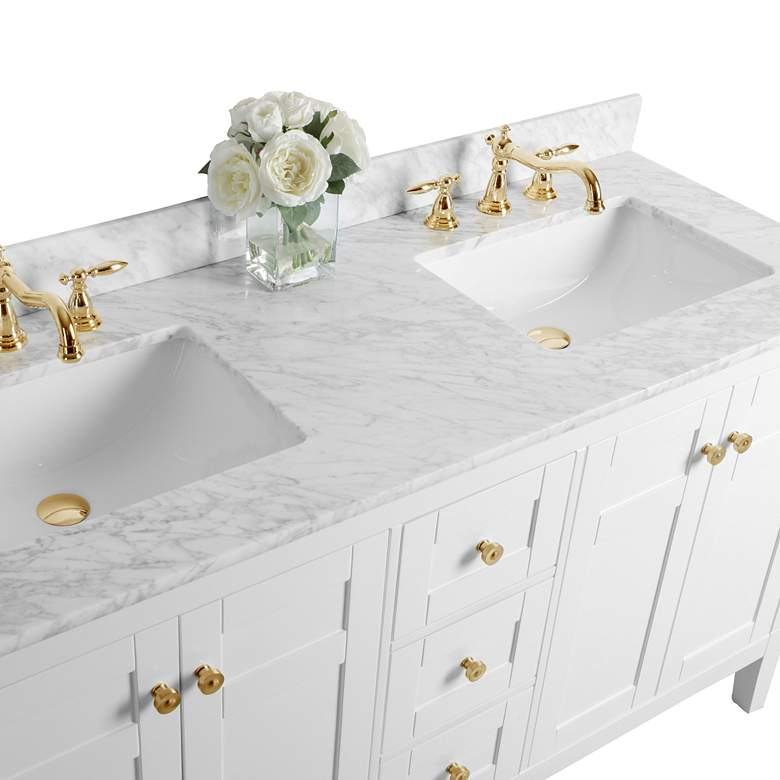 "Maili 60"" Wide Gold Hardware White Marble Double Sink Vanity more views"