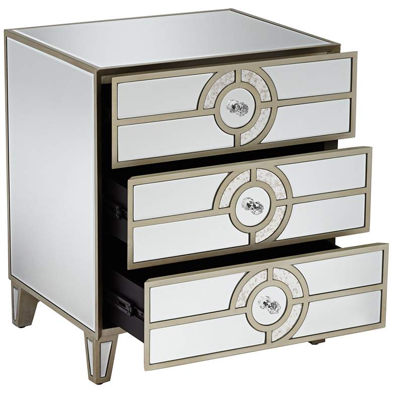 "Janine 21 1/2"" Wide Mirrored  3-Drawer Art Deco Side Table more views"