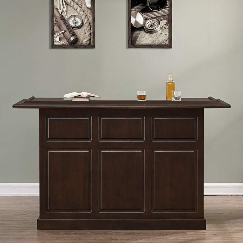 "Lexington 72"" Wide Sierra Wood Finish Home Bar more views"