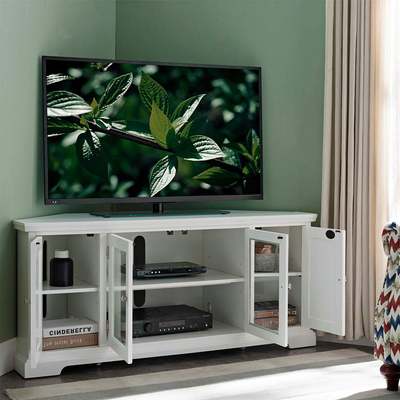 "Leick 57"" Wide White Wood Glass Door Corner TV Console more views"