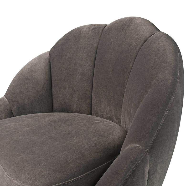 Bloom Light Gray Velvet Channel Tufted Accent Chair more views