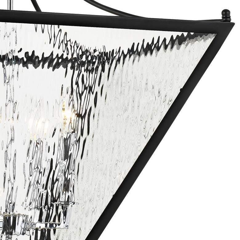 "Park Hill 21"" Wide Matte Black and Water Glass Pendant Light more views"