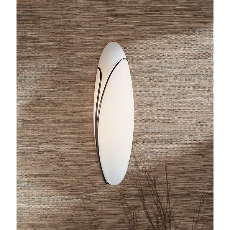 "Oval Reed Left Opal Glass 20"" High Wall Sconce more views"