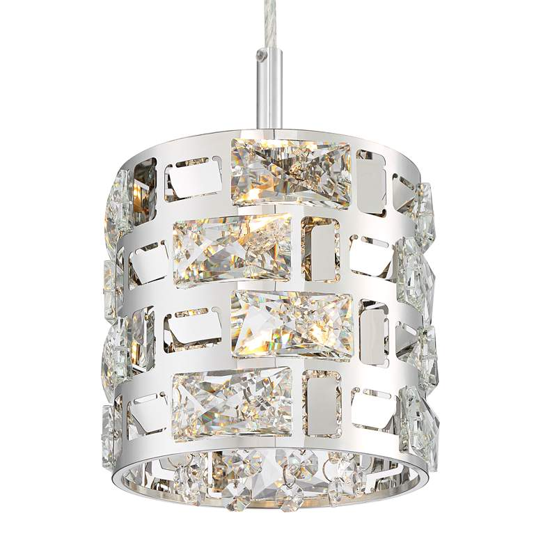 "Possini Euro Crystal Rain 6"" Wide Chrome Mini LED Pendant more views"