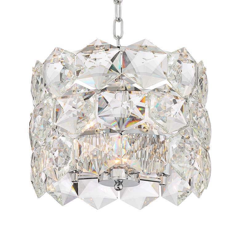 "Etienne 13 1/2"" Wide Chrome and Crystal Pendant Light more views"