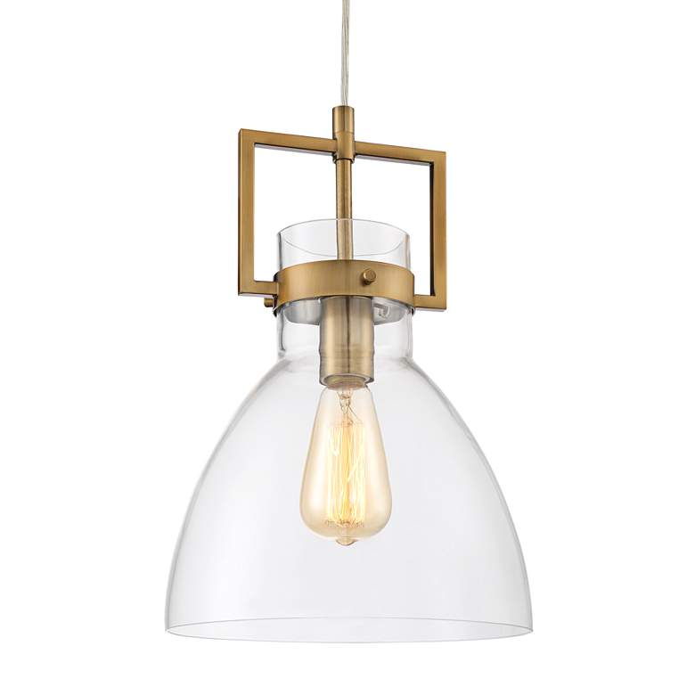 "Olney 10"" Wide Warm Brass and Glass Mini Pendant Light more views"