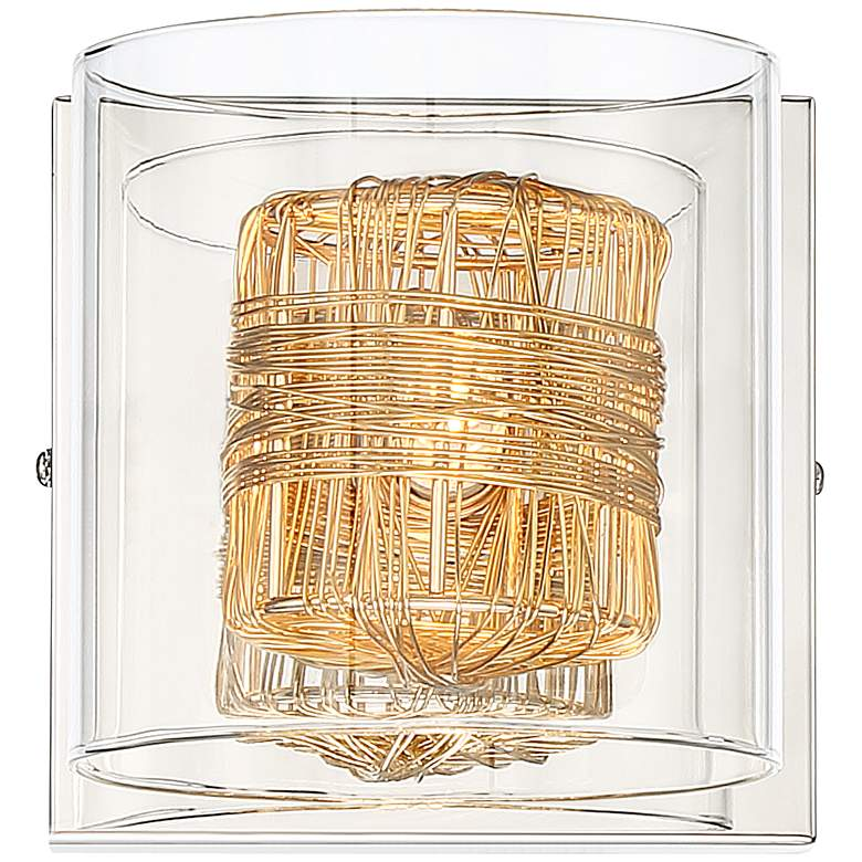 "Possini Euro Wrapped Wire 5"" High Gold Wall Sconce more views"