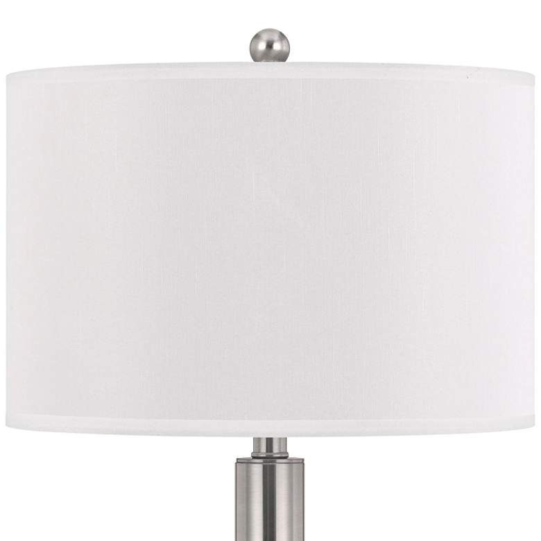 Carver Double Light Brushed Steel USB Hotel Table Lamp more views