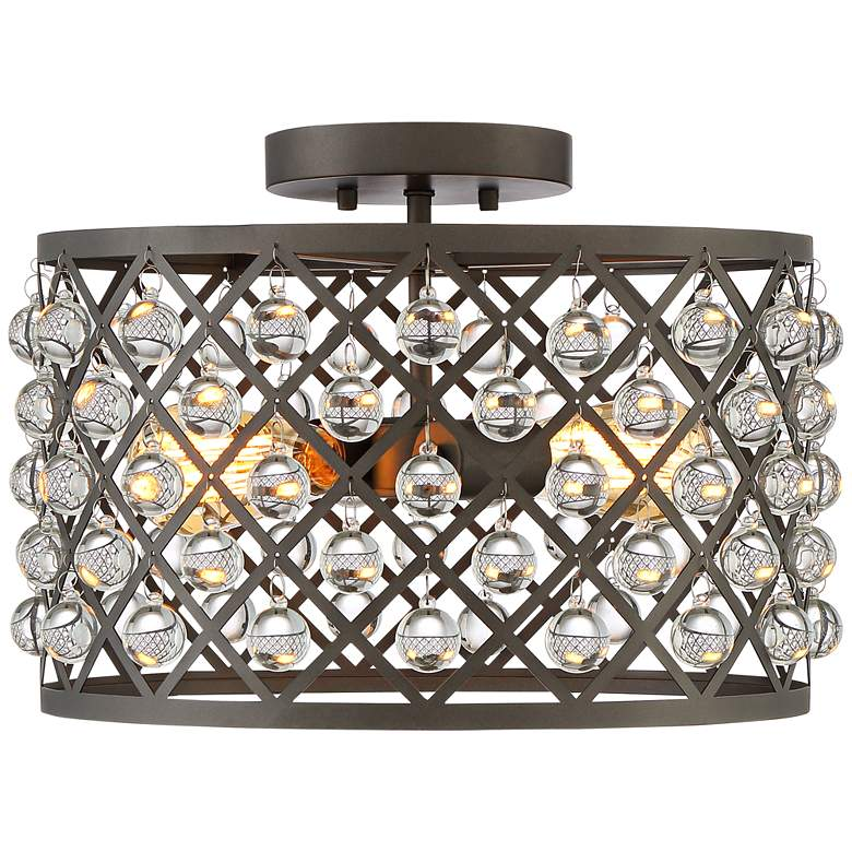 "Justin 15"" Wide Bronze Mesh Drum 2-Light Ceiling Light more views"