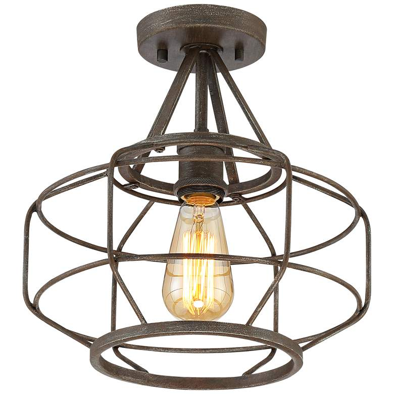 "Brady 12"" Wide Bronze Open Cage Drum Ceiling Light more views"