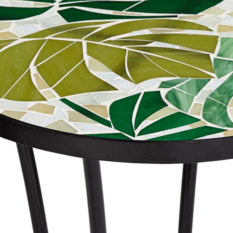 Tropical Leaves Mosaic Black Outdoor Accent Table more views