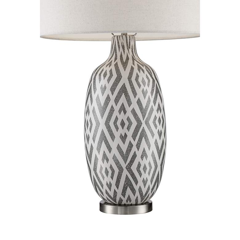 Possini Euro Jake Gray and White Ceramic Table Lamp more views