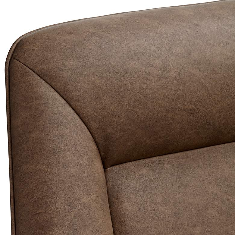 Miraculous Hemingway Brown Faux Leather Lounge Chair With Ottoman Pabps2019 Chair Design Images Pabps2019Com