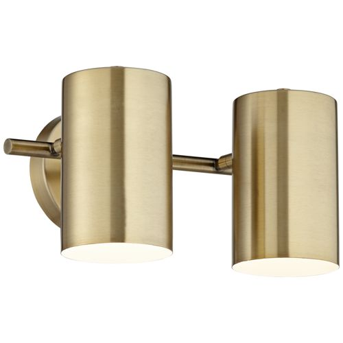 Carla Polished Brass 2-Head Hardwire Wall Lamp