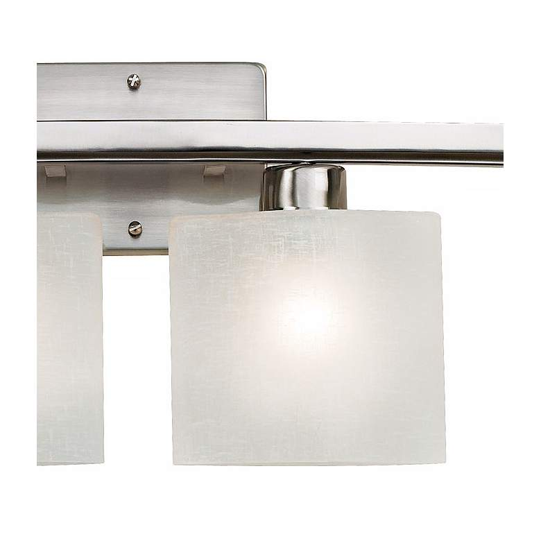 "Possini Euro Linen Glass 32"" Wide Brushed Nickel Bath Light more views"