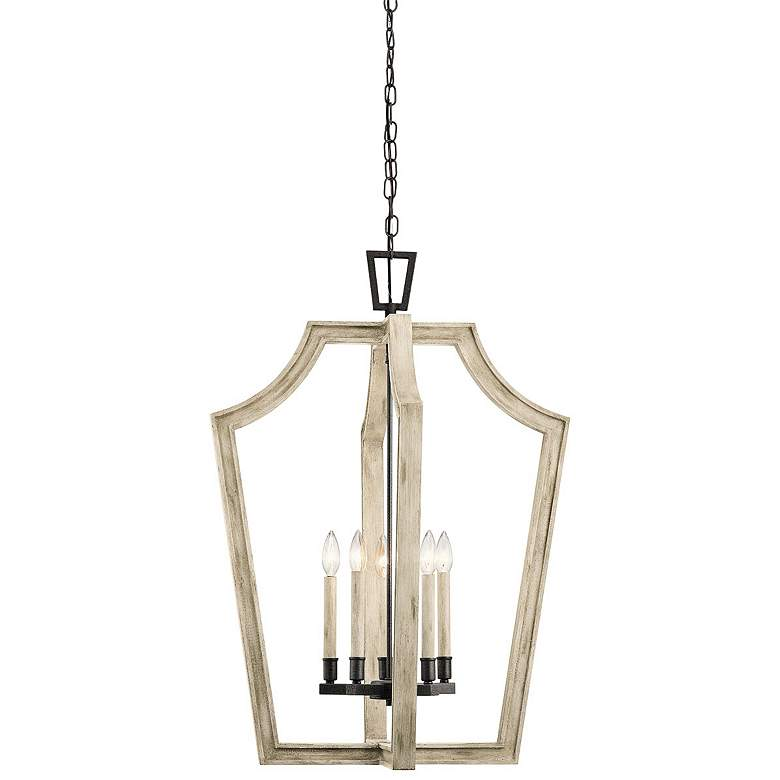 "Botanica 24"" Wide White-Washed Wood 5-Light Foyer Pendant more views"