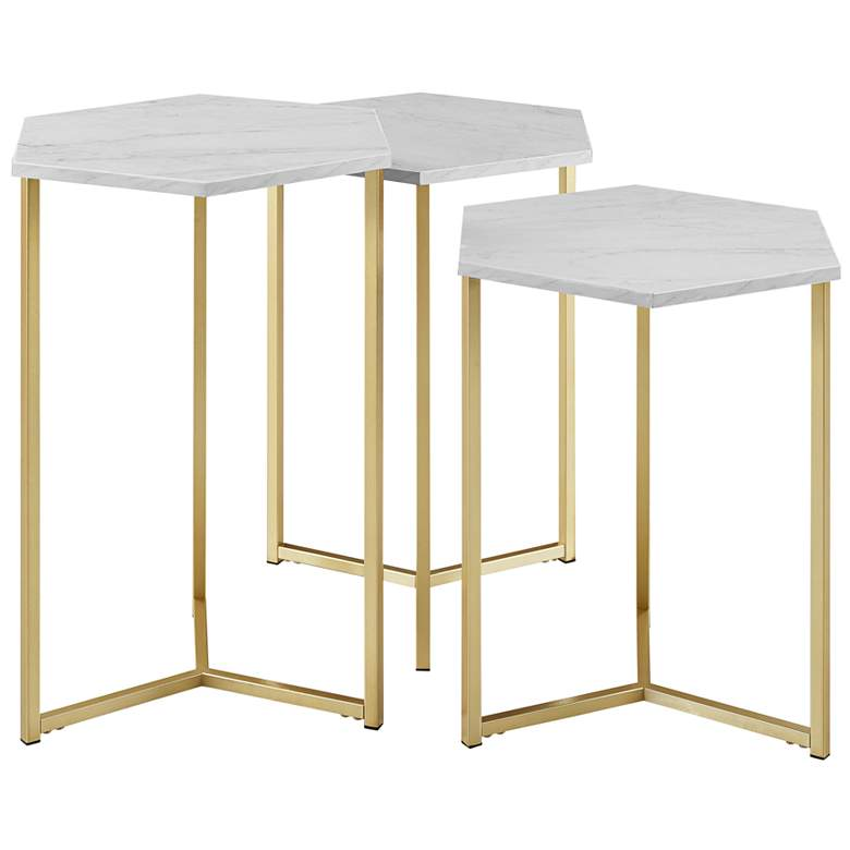 Hex Faux White Marble Top and Gold Tables Set of 3 more views