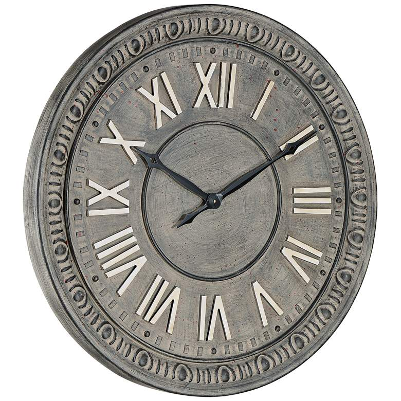 "Romana 24"" Wide Gray Roman Numeral Metal Wall Clock more views"