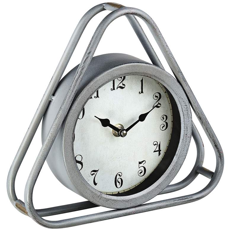 "Iza 8 1/4"" Wide Triangular Gray Metal Table Clock more views"