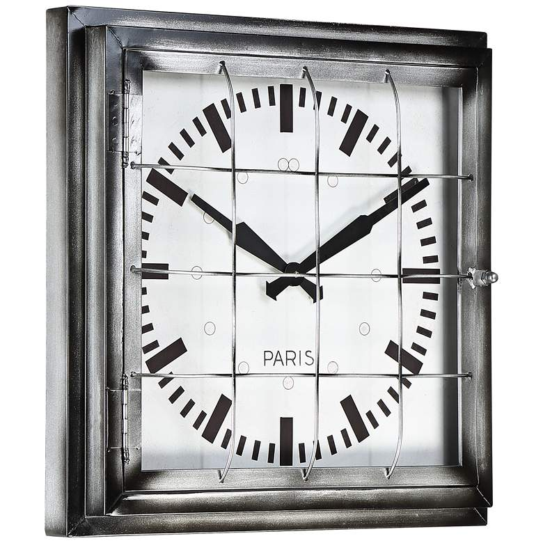 "Iles 20"" Wide Square Caged Metal Wall Clock more views"
