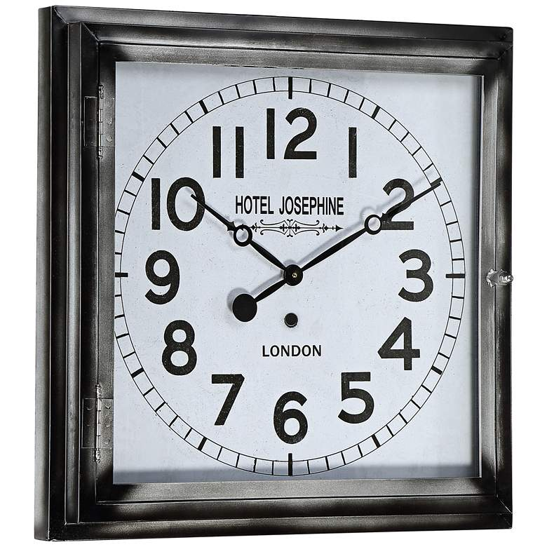 "Hotel Josephine 23 3/4"" Wide Square Metal Wall Clock more views"