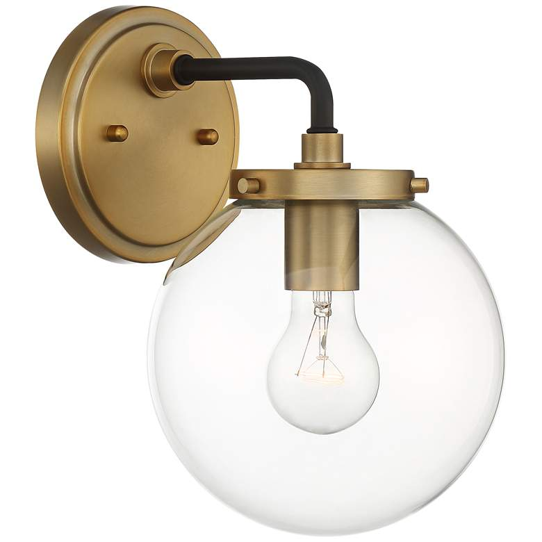 "Possini Euro Fairling 10 1/2""H Gold Glass Globe Wall Sconce more views"