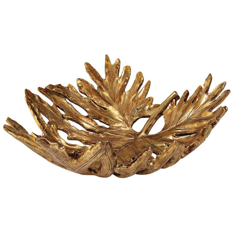 "Uttermost 19 3/4"" Wide Gold Oak Leaf Decorative Bowl more views"