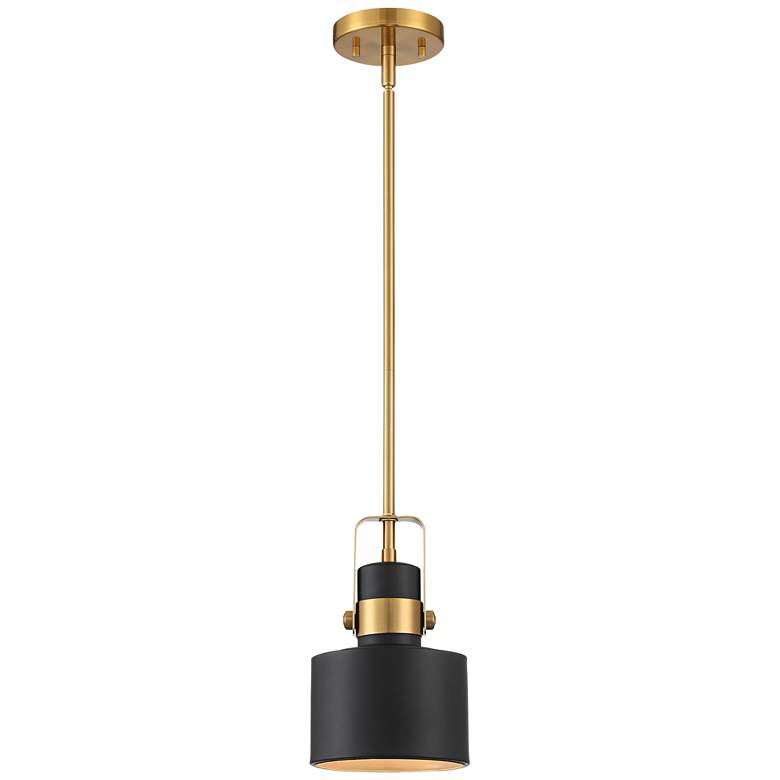 "Courtney 6 1/2"" Wide Black and Brass Mini Pendant Light more views"