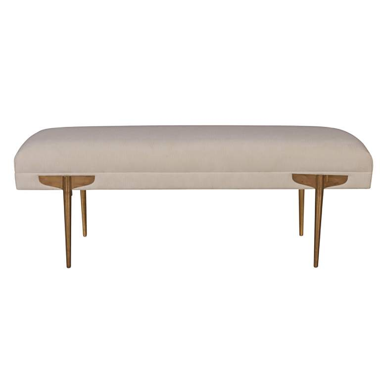 Brno White Waived Velvet Bench more views