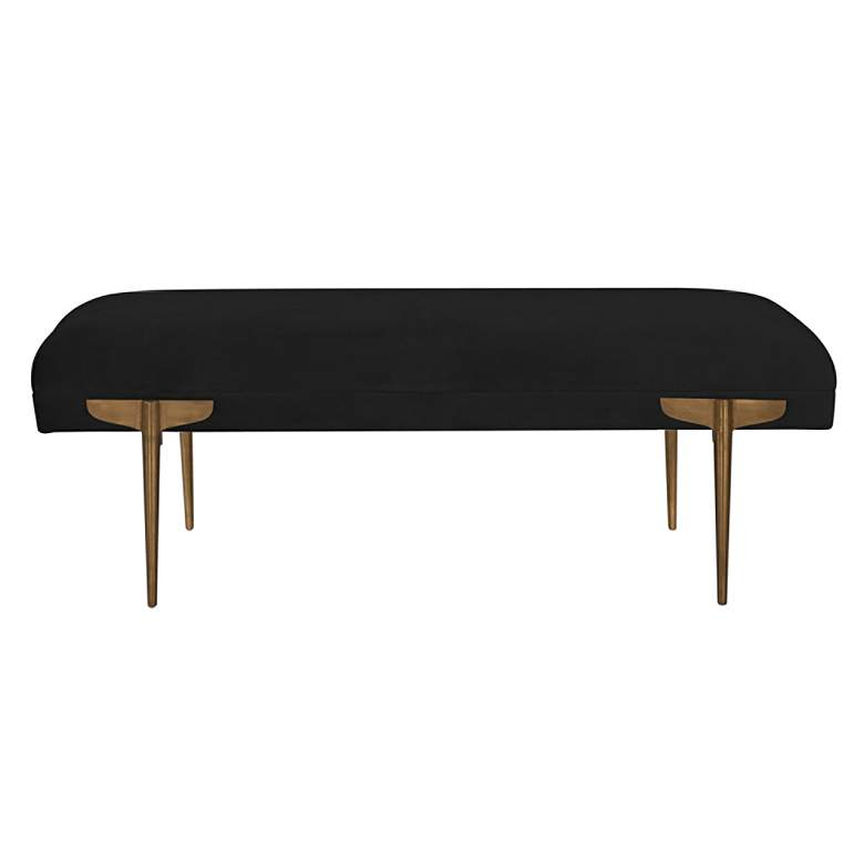 Brno Black Waived Velvet Bench more views