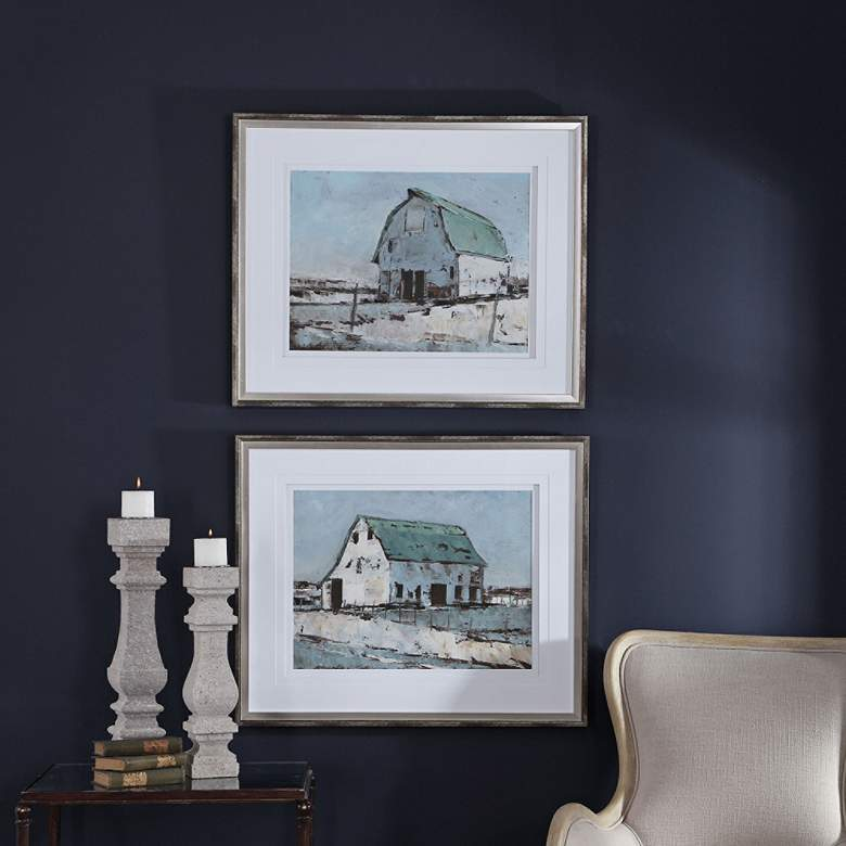 "Plein Air Barns 34 1/4""W 2-Piece Framed Wall Art Print Set more views"