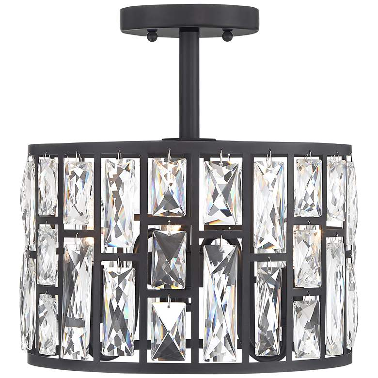 "Sofie 11 3/4"" Wide Black and Crystal Ceiling Light more views"