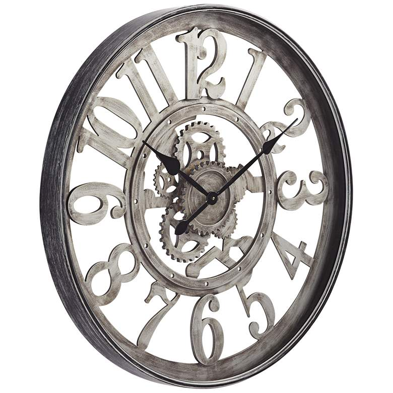 "Edith Silver and Black 31 1/2"" Round Metal Wall Clock more views"
