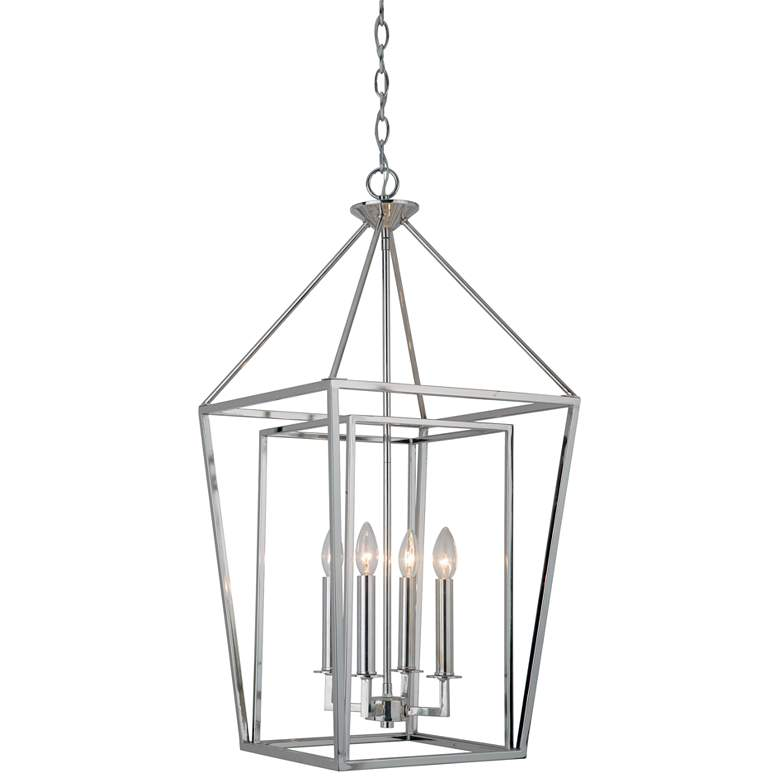 "Hudson 15 3/4"" Wide Polished Nickel 4-Light Foyer Pendant more views"