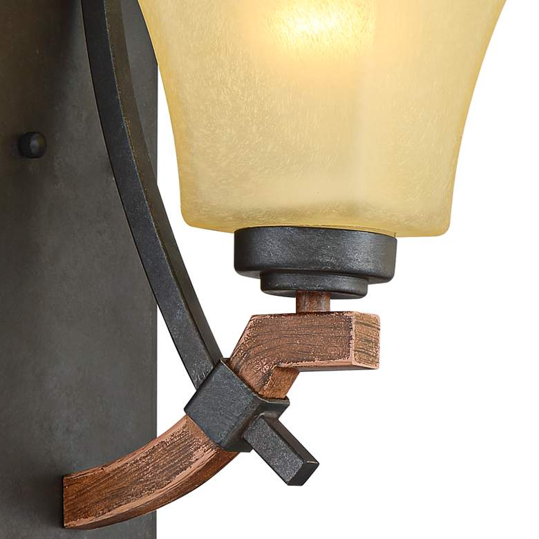 "Rayhan 13"" High Metal and Brown Wood Wall Sconce more views"