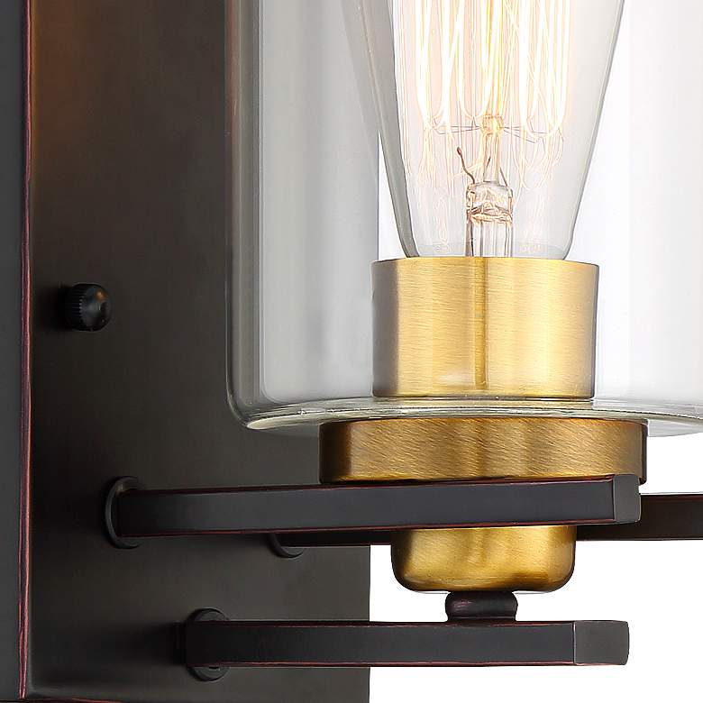 "Possini Euro Demy 8 3/4"" High Bronze and Gold Wall Sconce more views"