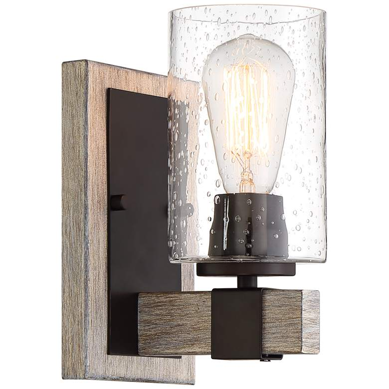 "Poetry 9"" High Bronze and Gray Wood Grain Wall Sconce more views"