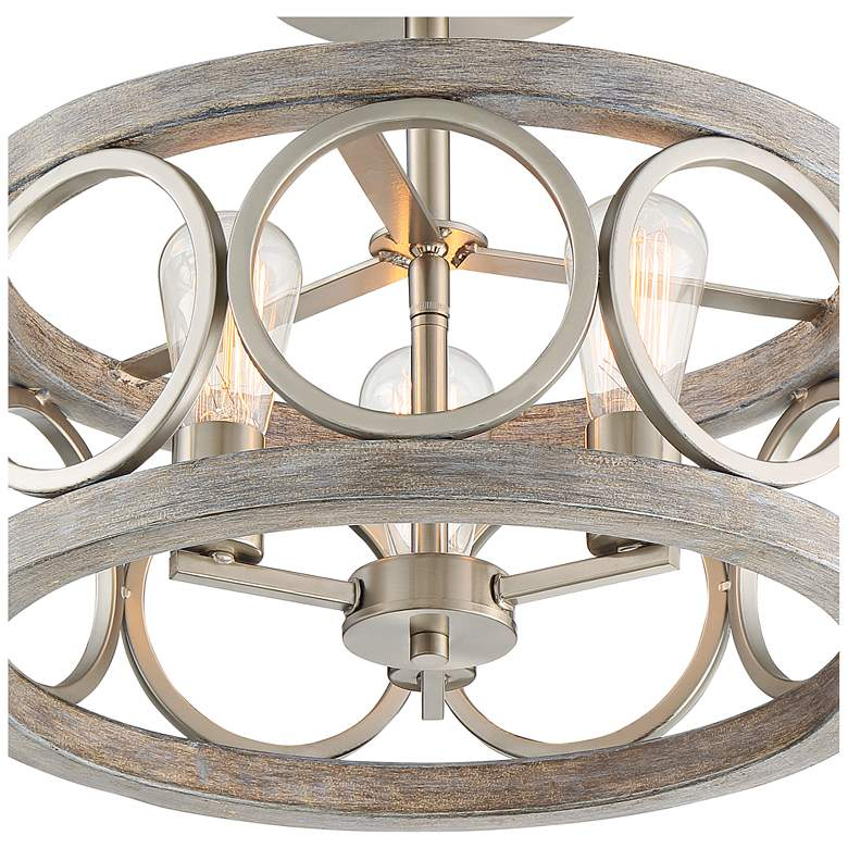 "Salima 16"" Wide Nickel and Gray Wood 3-Light Ceiling Light more views"