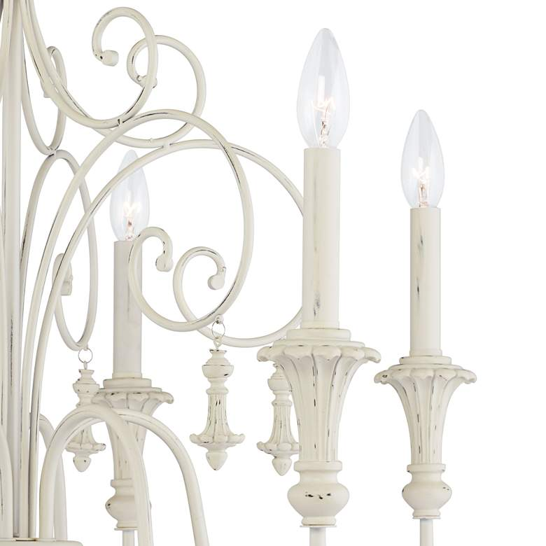 "Scrolled Tiers 28"" Wide Antique White 6-Light Chandelier more views"