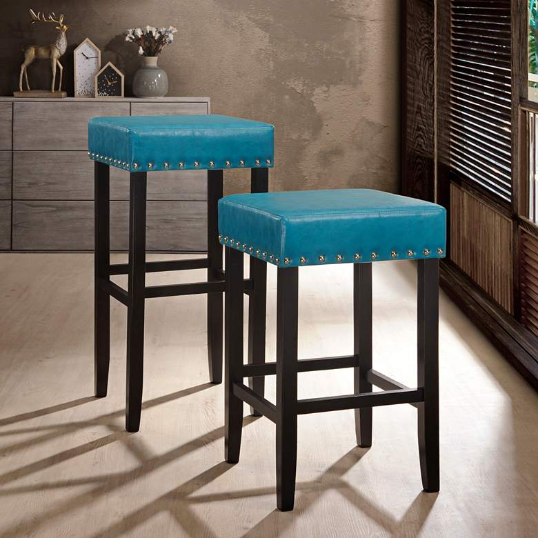 Strange Carmen 25 Soft Blue Faux Leather Nailhead Counter Stool Uwap Interior Chair Design Uwaporg