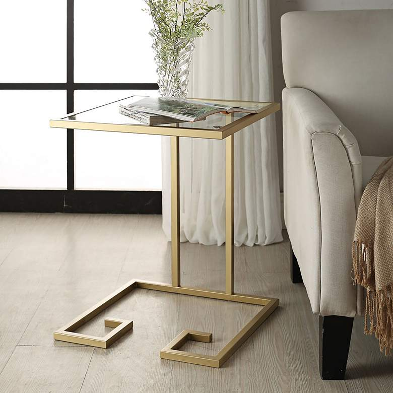Greek Key Glass Top and Antique Gold C-Shaped Side Table more views