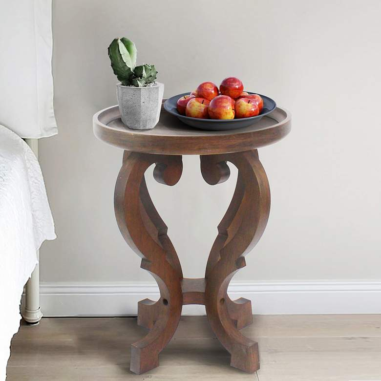 Chloe Hand-Crafted Elm Wood Round Accent Side Table more views