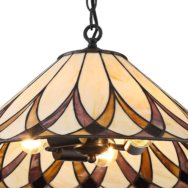 "Serena 19 3/4"" Wide Amber Accented Art Glass 3-Light Pendant more views"