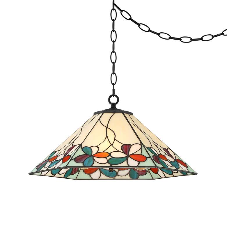 "Fiona 20"" Wide Floral Art Glass 3-Light Pendant Light more views"