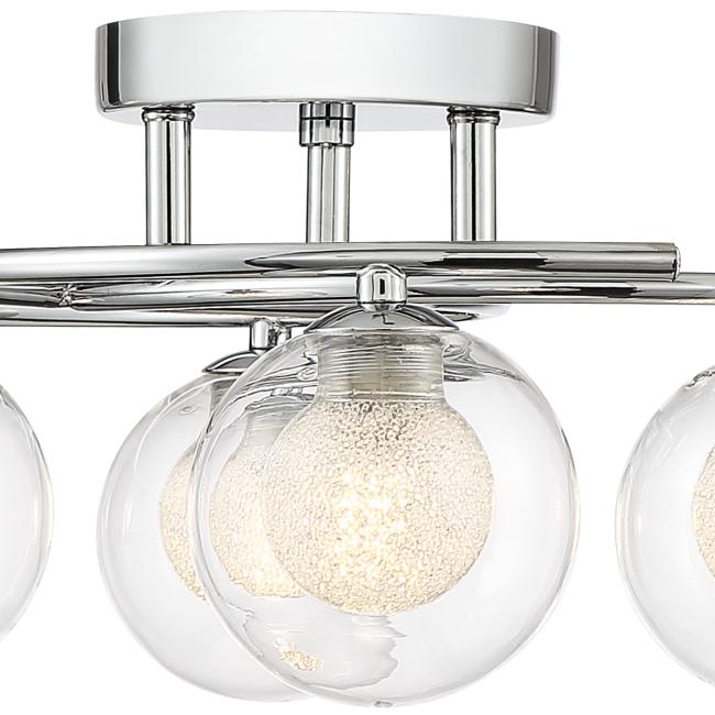 "Possini Euro Crystal Sand 23"" Wide Chrome LED Ceiling Light"