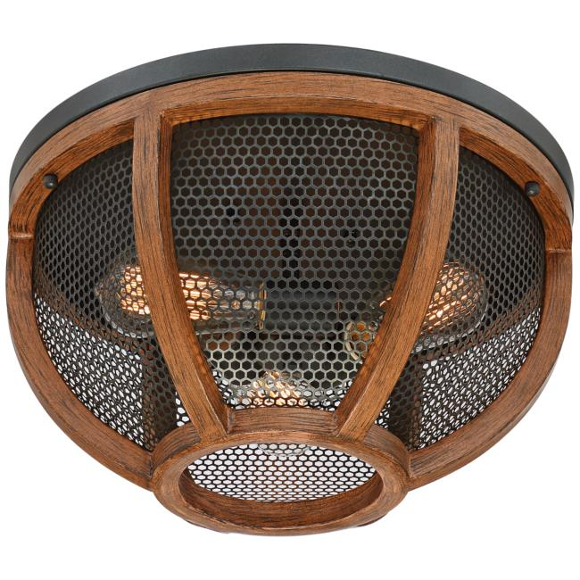 "Possini Euro Eleri 13"" Wide Wood and Mesh Dome Ceiling Light"